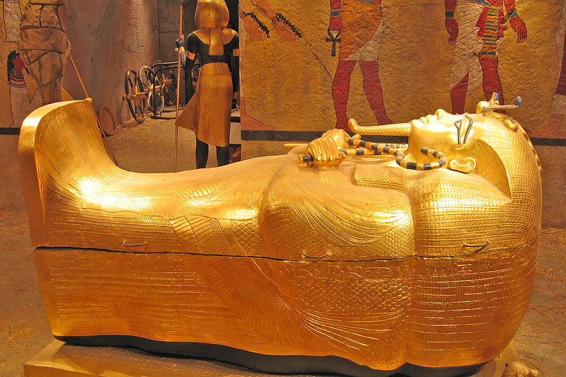 A replica of King Tut's coffin in a replica of his tomb at the Luxor
