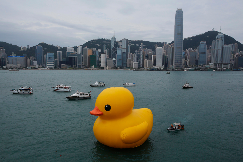 . A giant Rubber Duck created by Dutch artist Florentijn Hofman is towed along Hong Kong\'s Victoria Habour Thursday, May 2, 2013. Since 2007 the 16.5-meter (54 feet)-tall Rubber Duck has traveled to various cites including Osaka, Sydney, Sao Paulo and Amsterdam. (AP Photo/Vincent Yu)