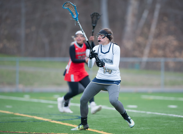 04/17/18 Wesley Bunnell | Staff Newington girls lacrosse was defeated 19-2 by Conard at Newington on Tuesday afternoon. Kiley Davies (14).