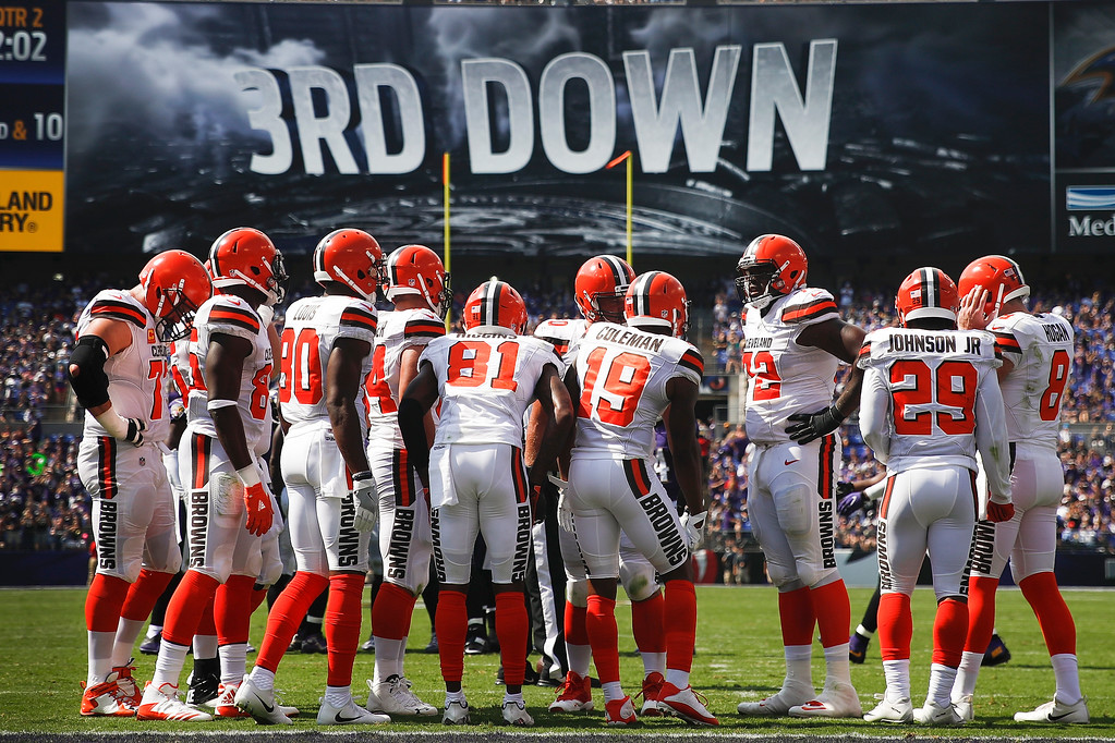 . The Cleveland Browns huddle during the first half of an NFL football game against the Baltimore Ravens in Baltimore, Sunday, Sept. 17, 2017. (AP Photo/Patrick Semansky)
