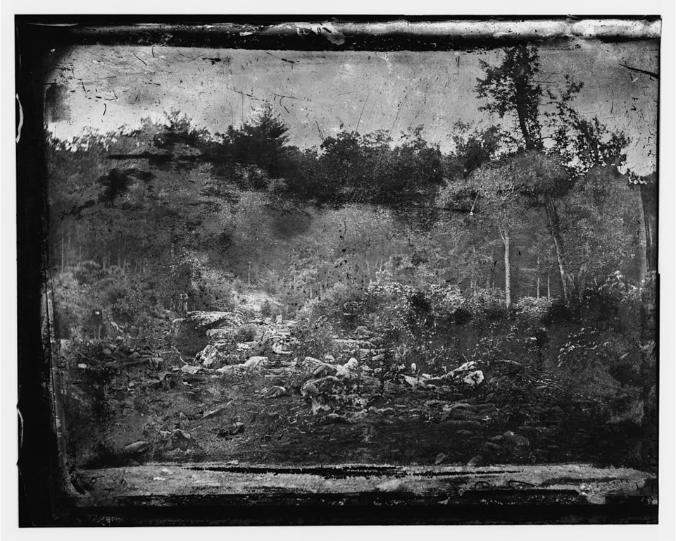 ". Gettysburg, Pennsylvania. ""Slaughter pen\"" on left wing.  (O\'Sullivan, Timothy H., 1840-1882, photographer)  - Library of Congress Prints and Photographs Division Washington, D.C."