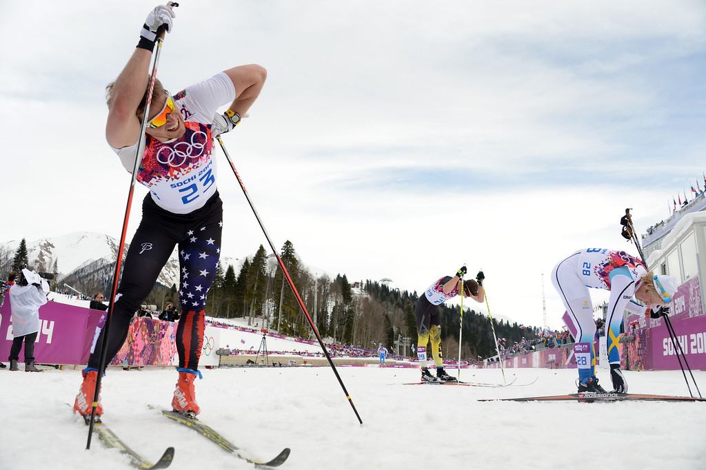 . US Kris Freeman crosses the finish line in the Men\'s Cross-Country Skiing 15km Classic at the Laura Cross-Country Ski and Biathlon Center during the Sochi Winter Olympics on February 14, 2014 in Rosa Khutor near Sochi. AFP PHOTO / KIRILL KUDRYAVTSEV/AFP/Getty Images