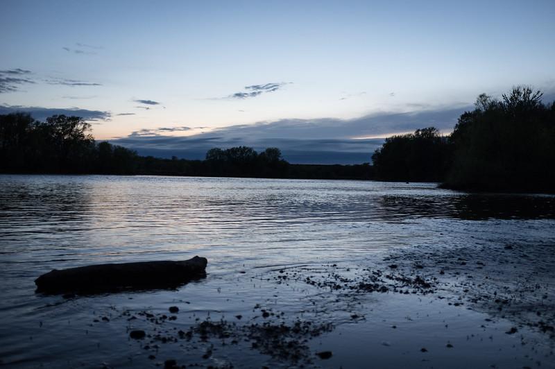 Upriver at dusk.