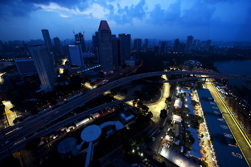 . A general view of the circuit during practice ahead of the Singapore Formula One Grand Prix at Marina Bay Street Circuit on September 19, 2014 in Singapore, Singapore.  (Photo by Lars Baron/Getty Images)