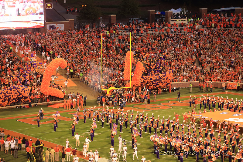 Running down the hill at Clemson University's  Death Valley.  Go Tigers!