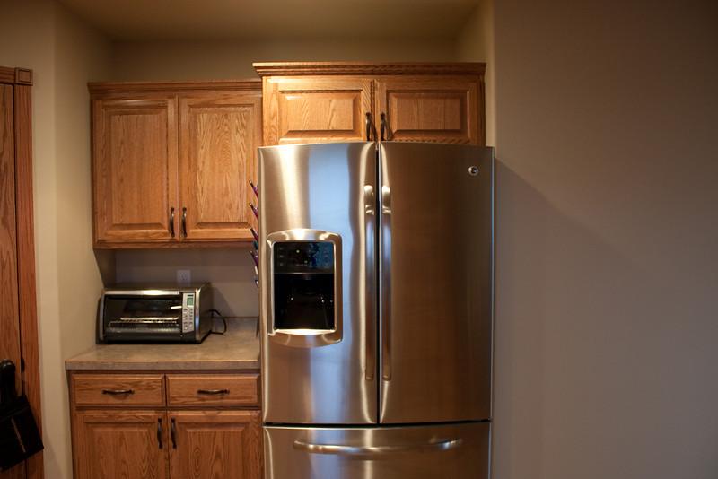 Fridge, toaster oven.