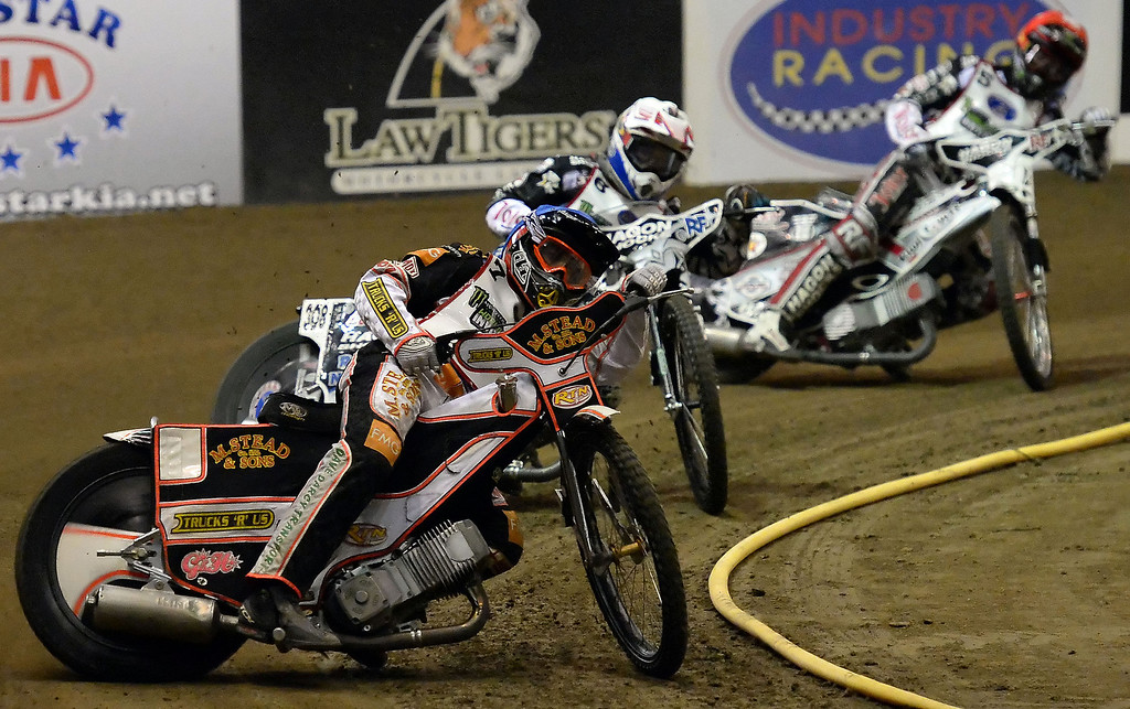 . Scott Nicholls (7) leads in the second race during the Monster Energy Speedway Cycles at the Industry Speedway in the Industry Hills Grand Arena in Industry, Calif., on Saturday, Dec. 28, 2013.     (Keith Birmingham Pasadena Star-News)