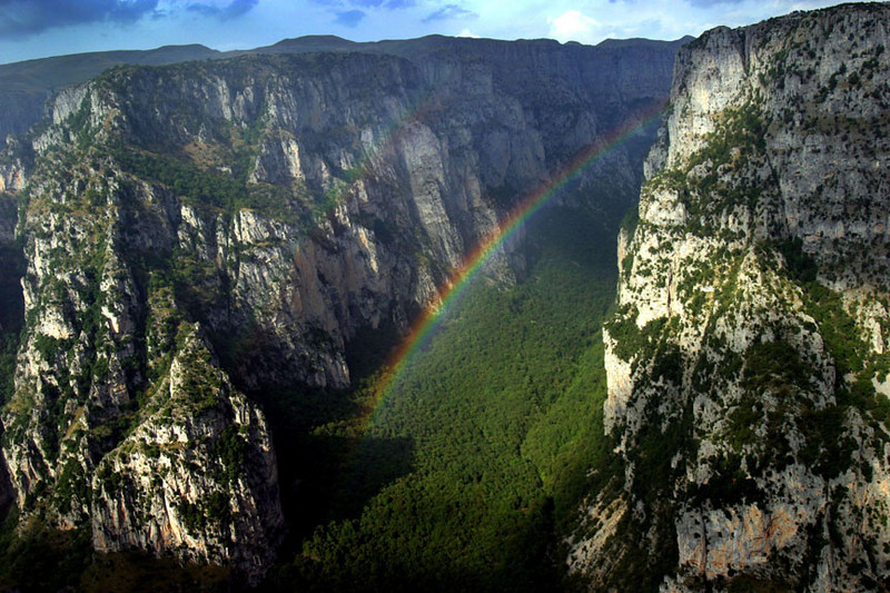 Rainbow over Vikos Gorge, Epirus, Northern Greece