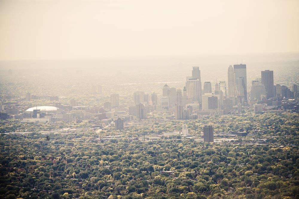 . An aerial view looking south toward downtown Minneapolis. (Pioneer Press: Ben Garvin)