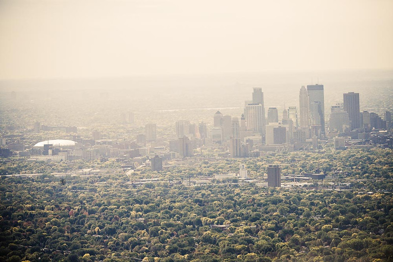 . An aerial view looking south toward downtown Minneapolis. (Pioneer Press: Ben Garvin)