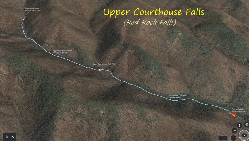 Upper Courthouse Falls Hike Route Map