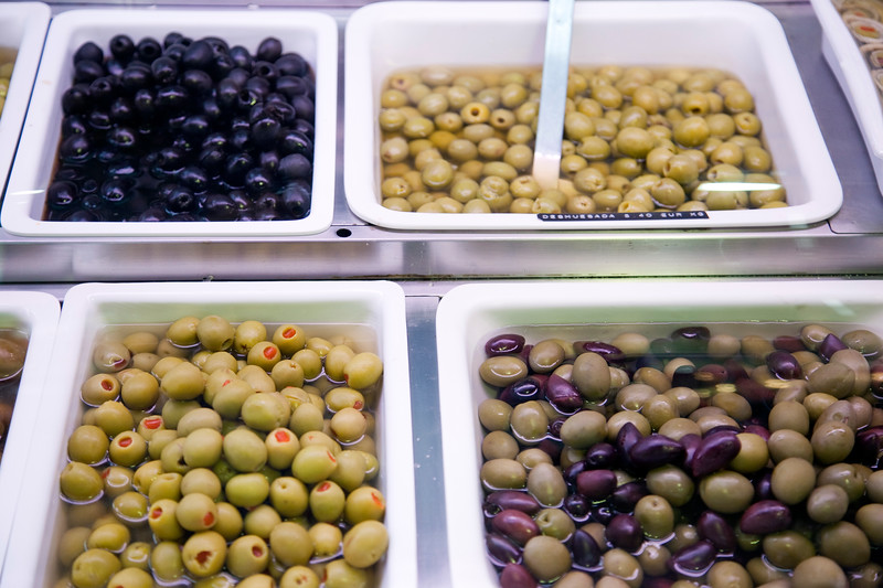 Olives, Boqueria market, town of Barcelona, autonomous commnunity of Catalonia, northeastern Spain