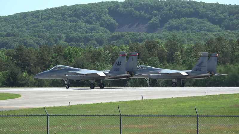6-3-18...Drill Sunday...two F-15s (122 and 030) departing again as part of hot pit refueling...shot from lumberyard mound