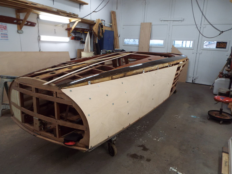 Rear starboard view of plywood skin.