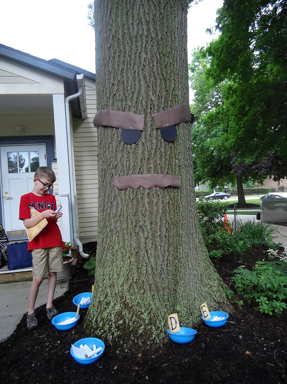. Kids take personality tests and then consult with the Great Deku Tree to see what color fairy they should get during a videogame-themed program at Mentor Public Library. The Deku are a mainstay of the classic Zelda videogames. (Courtesy Mentor Public Library)