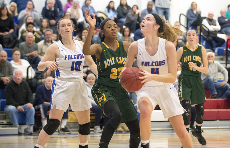 01/20/20  Wesley Bunnell | Staff  St. Paul Catholic girls basketball defeated Holy Cross 53-50 at home on Monday afternoon. Olivia Heslin (4).
