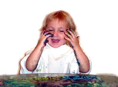 Rachel Fingerpainting November 2005