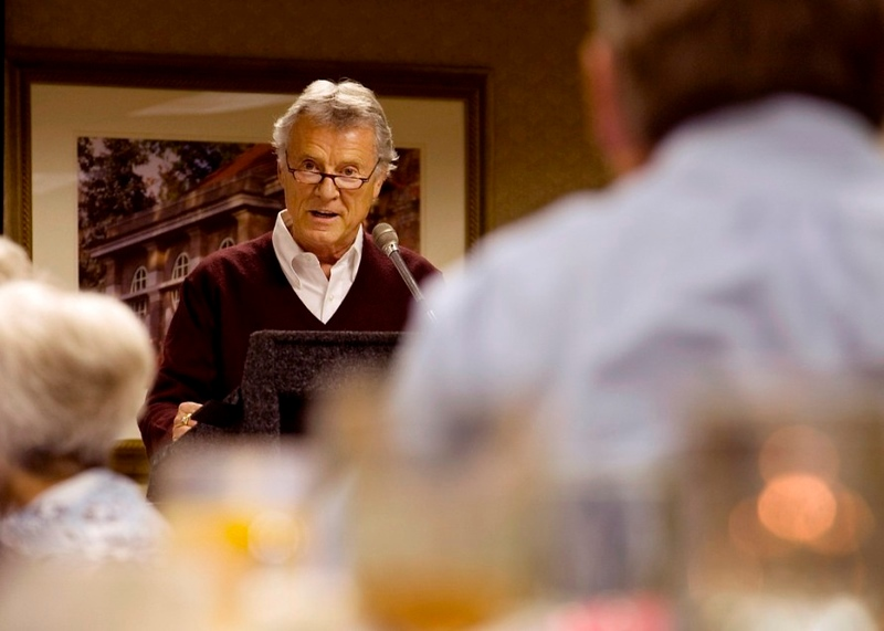 The class of 59' Golden Reunion keynote speaker, Layne Longfellow,  addresses the members of his Ohio University class during their reunion dinner.