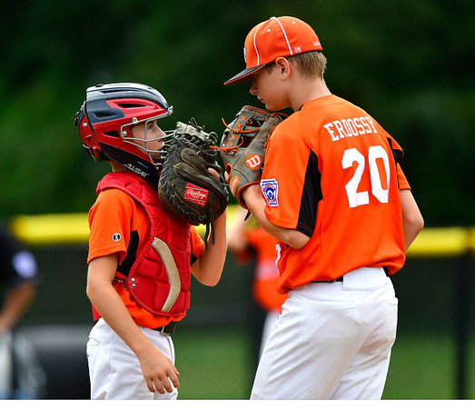 8/6/2019 Mike Orazzi | Staff Pennsylvania's Lucas Martz (22) and relief pitcher Jon Erdossy (20) during their second game of the Little League Mid-Atlantic regional on Aug. 6, 2019 at Breen Field in Bristol, Ct.