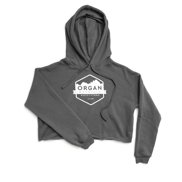 Organ Mountain Outfitters - Outdoor Apparel - Womens - Classic Cropped Fleece Hoodie - Dark Grey.jpg