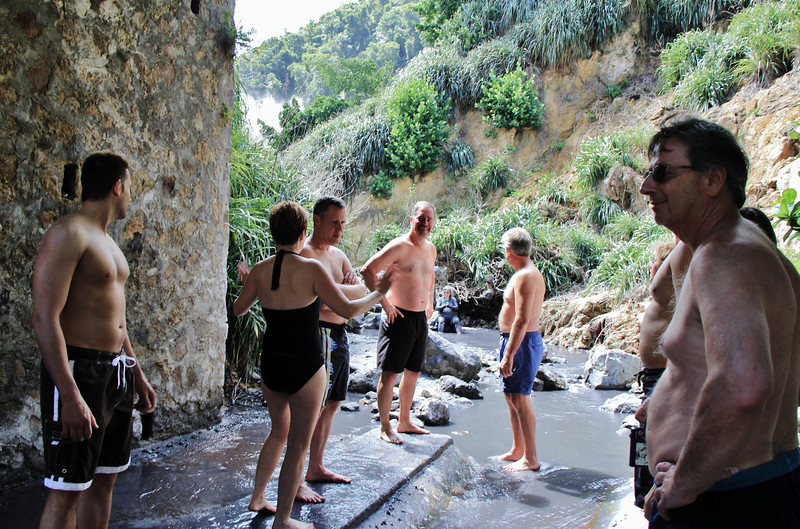 At the Sulphur Springs, there is a stream running through the crater, and a little further down are well-established hot springs and mud baths hotter than the average bath. These bathing pools are blessed with volcanic minerals and health-giving properties, which are reputed to have therapeutic qualities for the skin, the reason why the volcano attracts many tourists. You may not like the smell coming from the spring, or stand the heat for long, but your skin will thank you after a quick dip.  The sulphur springs emit a mixture of iron, calcium oxide, sulphur, copper oxide, carbon and magnesium to create the pungent smell and stain the rocks a green colour. Molten volcanic lava is not part of the toxic mix; otherwise the carter would not be safe to visit.