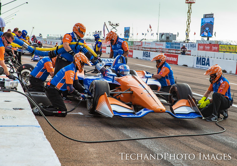 Scott Dixon into the its to get serviced by his crew at the Firestone Grand Prix of St Petersburg held on Sunday  March 10th