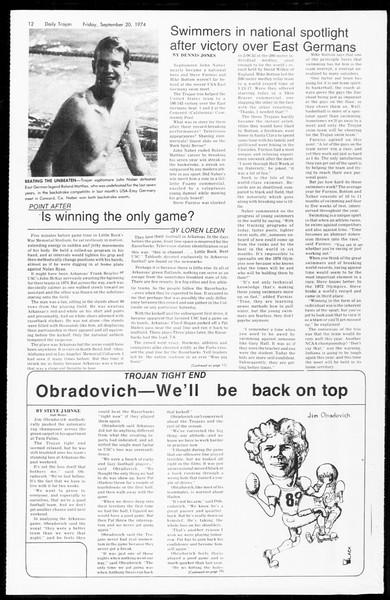 Daily Trojan, Vol. 67, No. 5, September 20, 1974