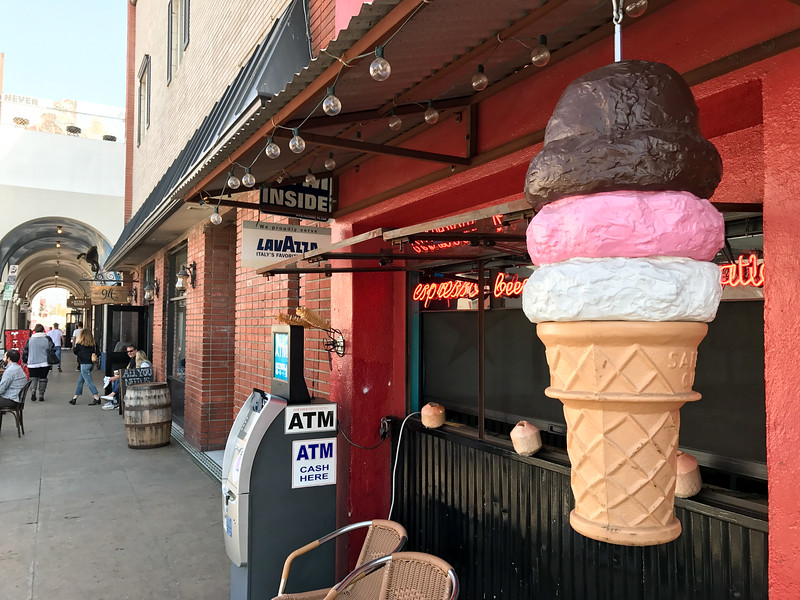 A giant ice cream cone welcomes visitors to Cairo Cowboy restaurant in Venice Beach