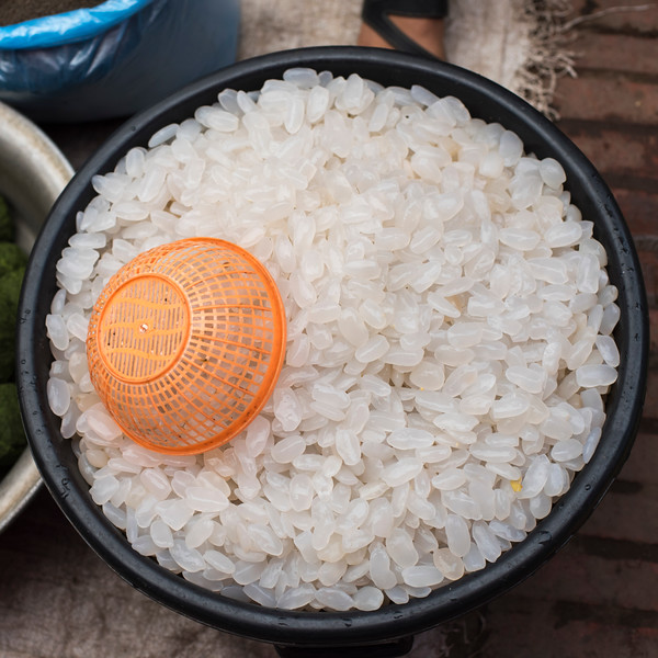 Elevated view of rice in bowl, Luang Prabang, Laos