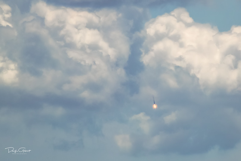 Falcon 9 First Stage Drops Through the Clouds to Another Successful Landing