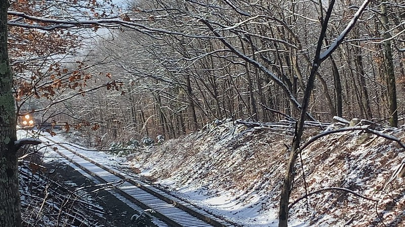 KCS struggling  to pull up Rich Mountain in the snow.