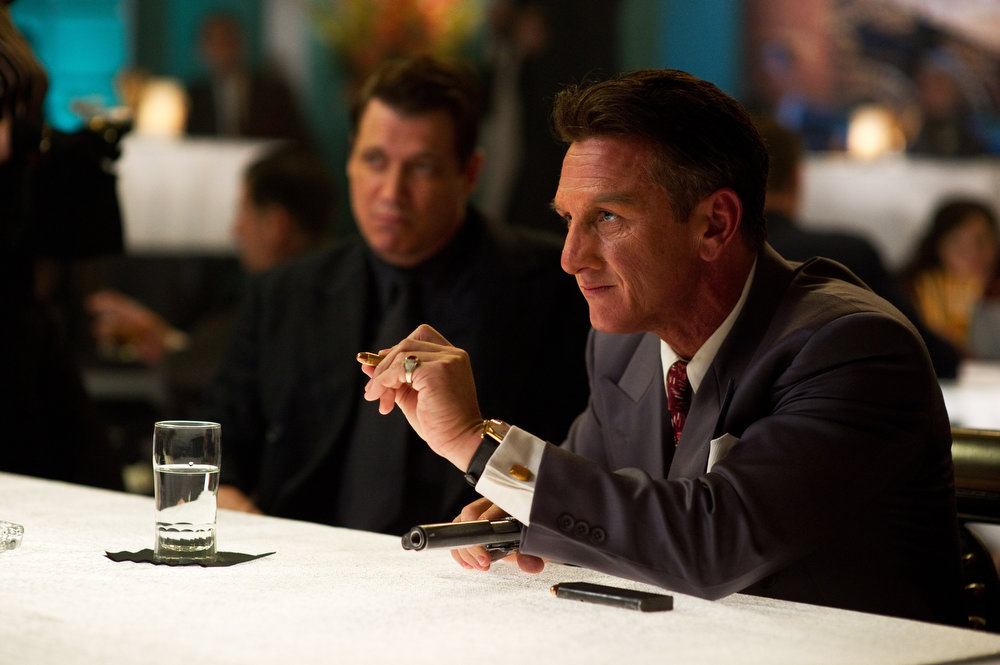 """. This film image released by Warner Bros. Pictures shows Holt McCallany, left, as Karl Lockwood, and Sean Penn, as Mickey Cohen, in \""""Gangster Squad.\"""" (AP Photo/Warner Bros. Pictures, Wilson Webb)"""