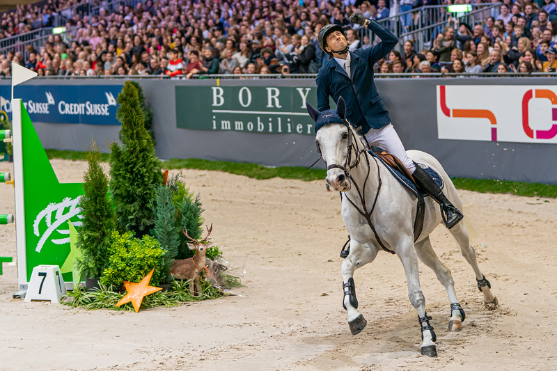 Exhilaration as Martin Fuchs realizes he has won the Rolex Grand Prix at CHI Geneva 2019
