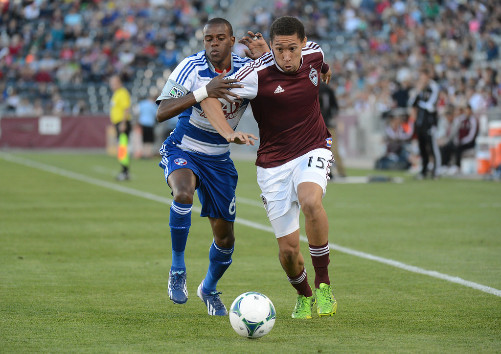 . COMMERCE CITY, CO. - June 01: Christopher Klute of Colorado Rapids (15) controls the ball against Jackson of FC Dallas (6) in the first half of the game at Dick\'s Sporting Goods Park. Commerce City, Colorado. June 1, 2013. (Photo By Hyoung Chang/The Denver Post)