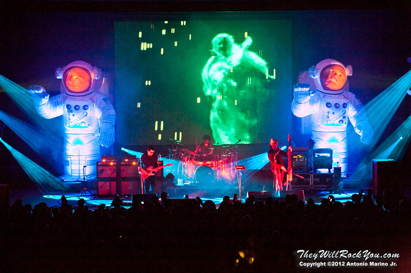 "Primus performs on October 12, 2012 during the kickoff of their ""Primus 3D"" tour at the Mid-Hudson Civic Center in Poughkeepsie, NY"