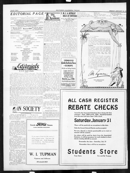 The Southern California Trojan, Vol. 16, No. 46, January 30, 1925