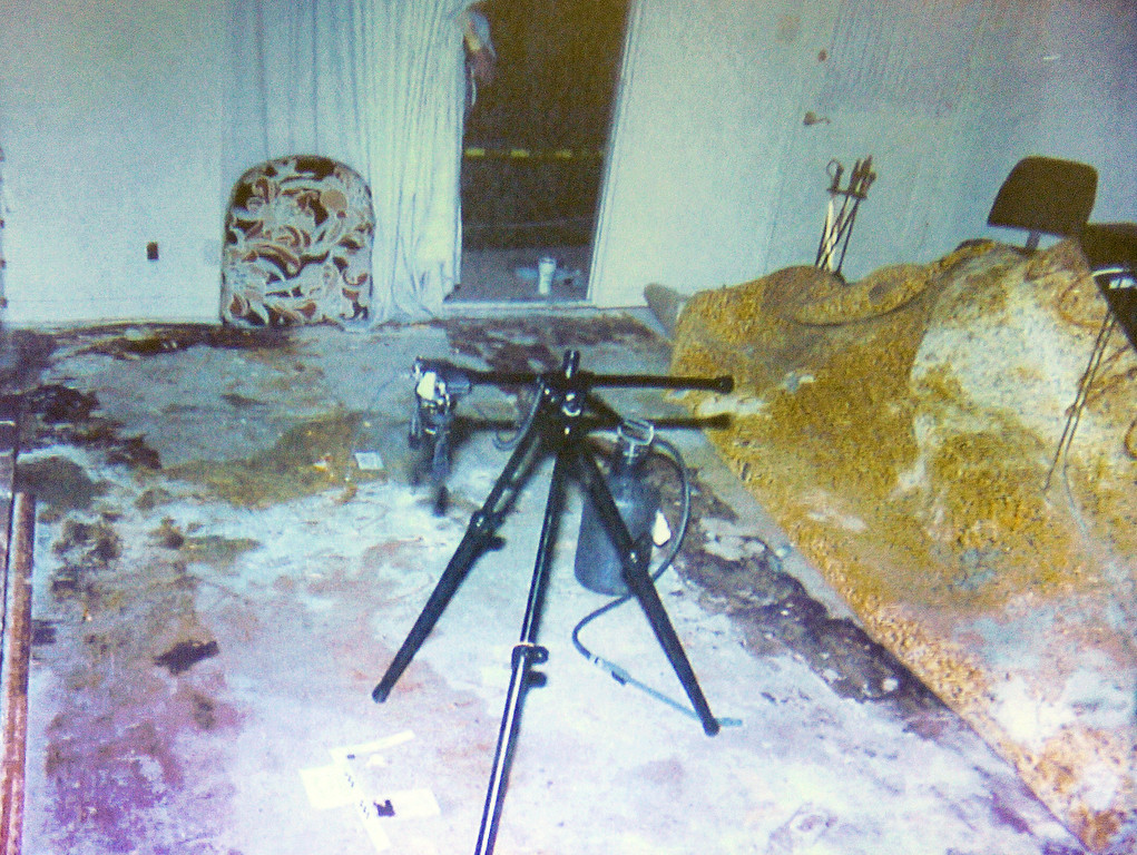""". A photo of Gerhartsreiter guest house after the rug was removed as Lynne Herold,  forensic scientists examined the room for trace evidence in 1994, testified at at the murder trial of Christian Gerhartsreiter, 52,  known as \""""Clark\"""" Rockefeller, third day at trial at Clara Shortridge Fortz Criminal Justice Center in Los Angeles on Wednesday, March 20, 2013. (SGVN/Photo by Walt Mancini/LANG)"""