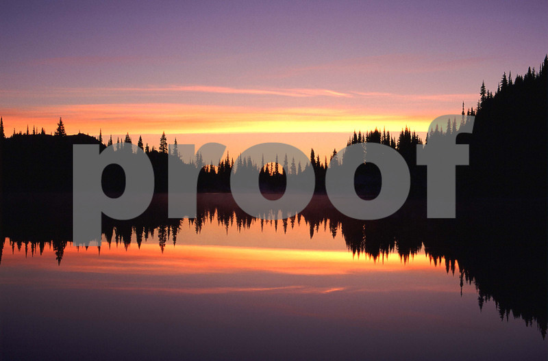 Reflection Lake at sunrise in Mt. Rainier National Park.