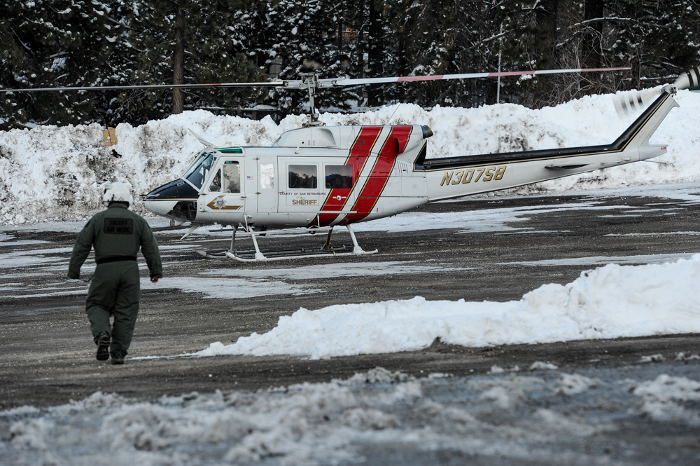 . The ariel search for Christopher Dorner resumes on day three of the search for fugitive ex-cop in Big Bear on Saturday, Feb. 9, 2013. Approximately 50 officers continued the search for Dorner Saturday. (Rachel Luna / Staff Photographer)