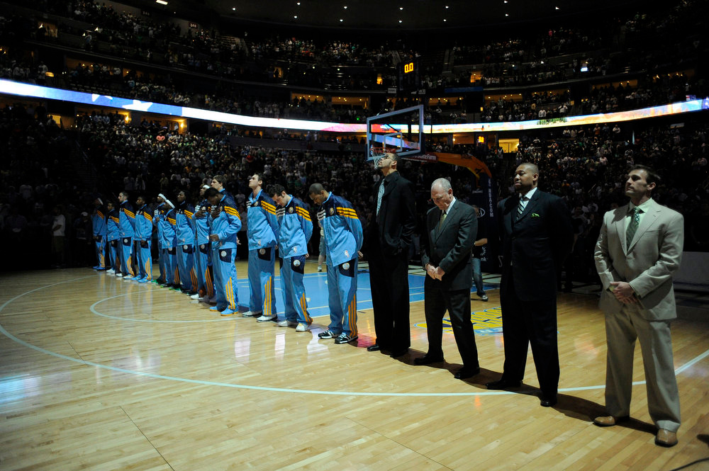 . Denver Nuggets Denver Nuggets head coach George Karl stands for the national anthem for their game against the Boston Celtics Monday, March 17, 2012 at Pepsi Center.  John Leyba, The Denver Post
