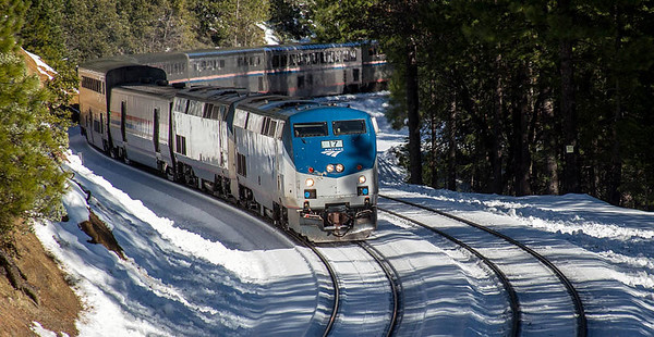 Amtrak's California Zephry in California's Sierra Nevadas and on to Emeryville