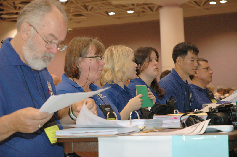 "Bishop William ""Chris"" Boerger, Northwest Washington Synod, studies assembly documents."