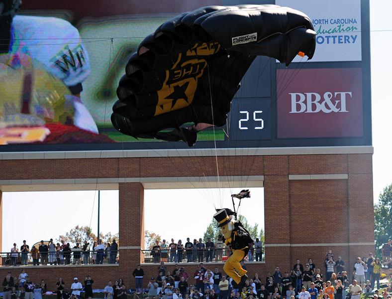 Deacon parachutes into stadium.jpg