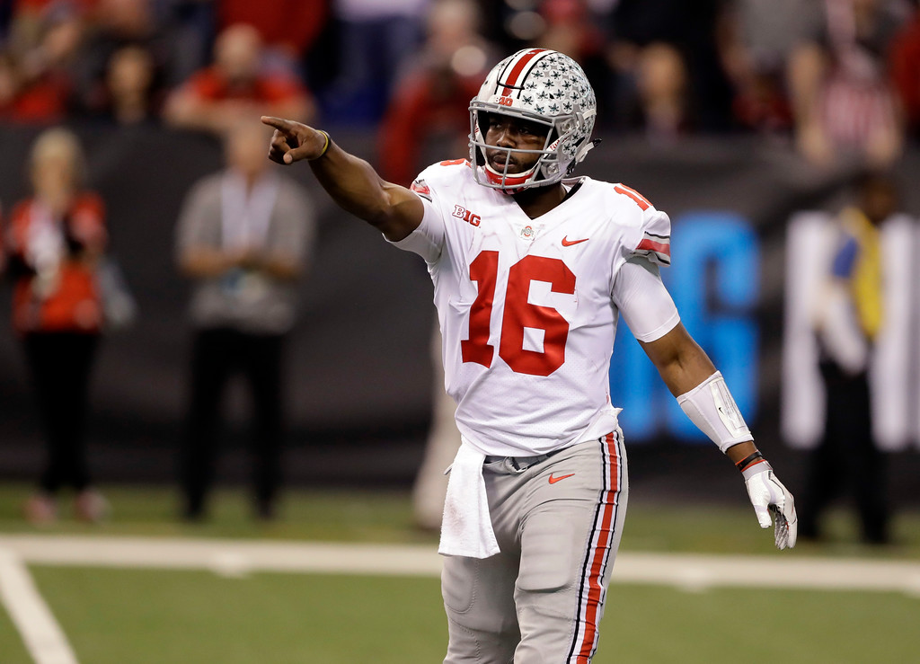 . Ohio State quarterback J.T. Barrett points during the second half of the Big Ten championship NCAA college football game, Saturday against Wisconsin, Dec. 2, 2017, in Indianapolis. (AP Photo/Darron Cummings)