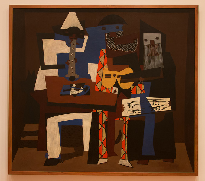 """Pablo Picasso, """"Three Musicians"""" (121) -- different from one in Phila Art Museum! --   Museum of Modern Art (MoMA), New York"""