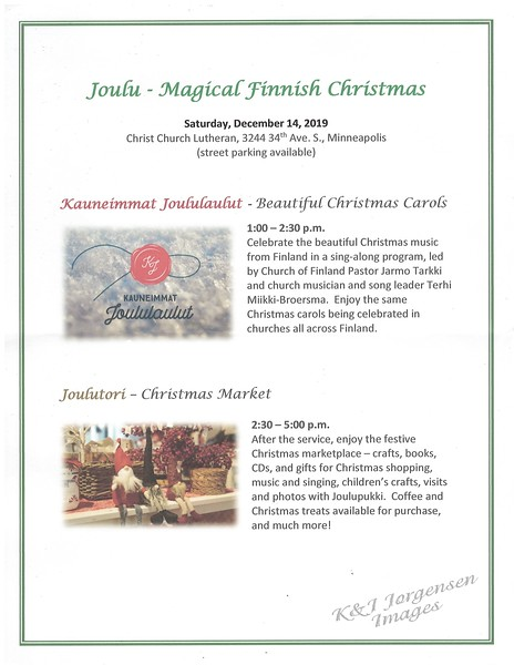 Kauneimmat Joululaulut, Beautiful Finnish Christmas Carols Service - Dec 2019