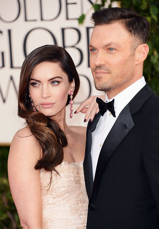 . Actress Megan Fox (L) and actor Brian Austin Green arrive at the 70th Annual Golden Globe Awards held at The Beverly Hilton Hotel on January 13, 2013 in Beverly Hills, California.  (Photo by Jason Merritt/Getty Images)