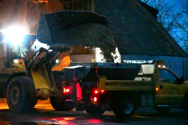 11/15/2018 MIke Orazzi   Staff A Bristol city plow truck being loaded with sand on Vincent P. Kelly Road Thursday evening.