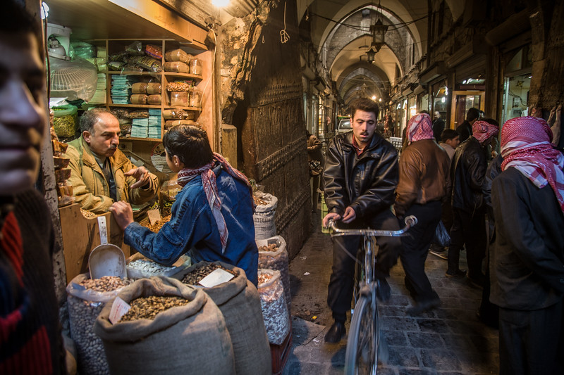 Aleppo, Syria - January, 2008: The vilabrant Aleppo Souk (bazaar) dates back to the 13th century and is the heart of the city Aleppo one of the oldest cities in the world, at roughly 8000 years. (Photo by Christopher Herwig)