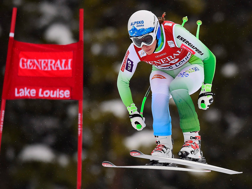 . Ilka Stuhec, of Slovenia, races down the course during the women\'s World Cup downhill ski race in Lake Louise, Alberta, Saturday, Dec. 6, 2014. (AP Photo/The Canadian Press, Frank Gunn)